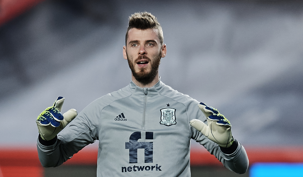 Manchester United and Spain goalkeeper David de Gea in training