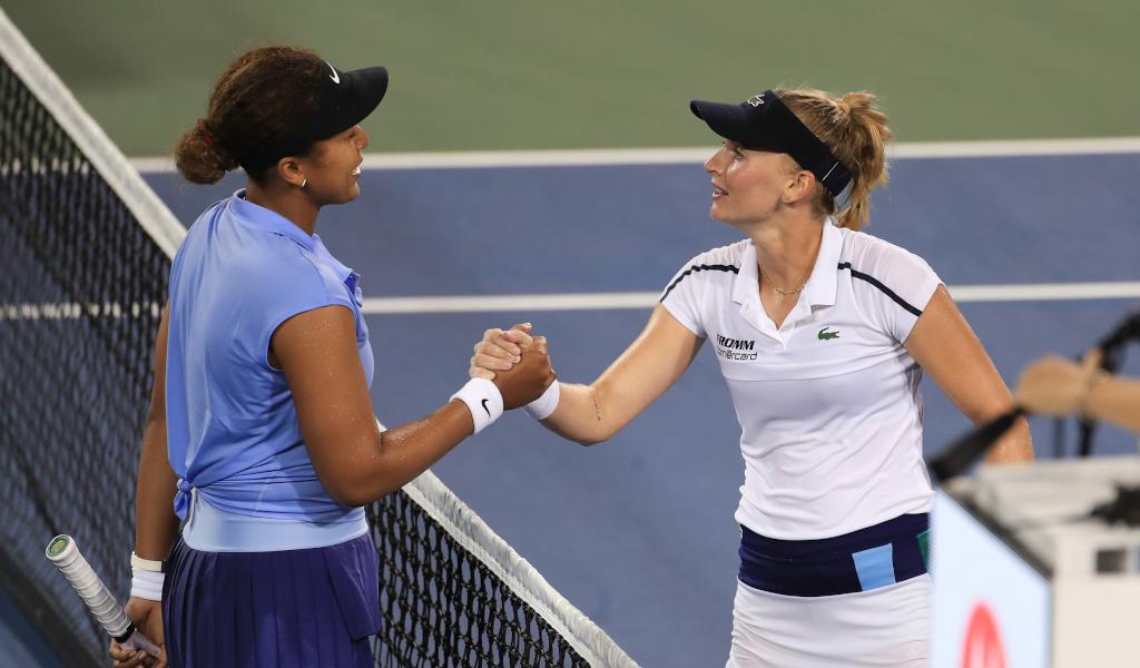 Naomi Osaka and Jill Teichmann post-match