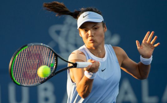 Great Britain's Emma Raducanu plays a shot
