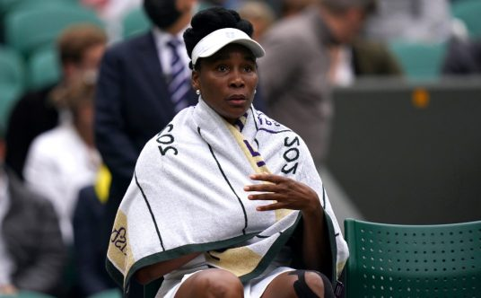 Venus Williams during a changeover