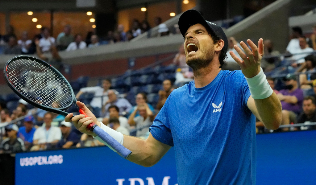 Andy Murray animated during match