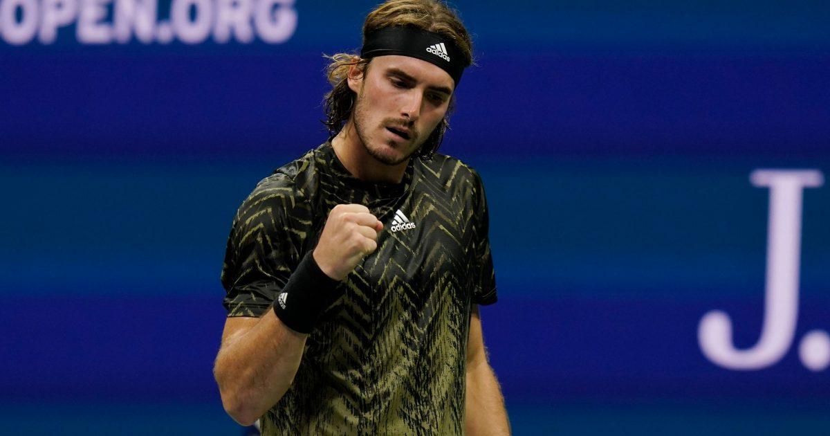 Stefanos Tsitsipas celebrates US Open