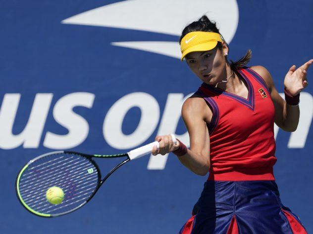 Emma Raducanu hits a forehand during her victory over Zhang Shuai