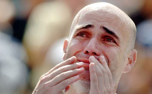 A tearful Andre Agassi