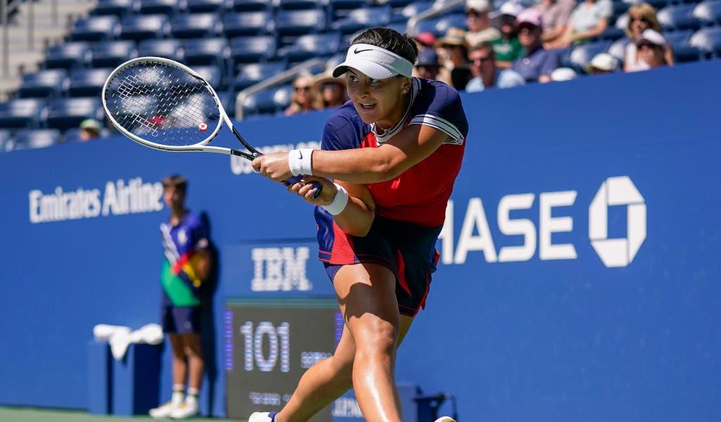 Bianca Andreescu plays a shot
