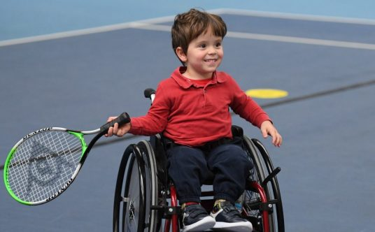 Participants at the LTA's wheelchair talent ID day at Lee Valley