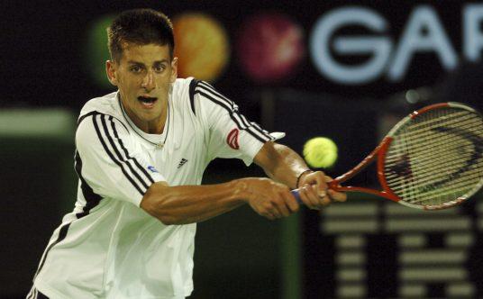A young Novak Djokovic at the 2005 Australian Open