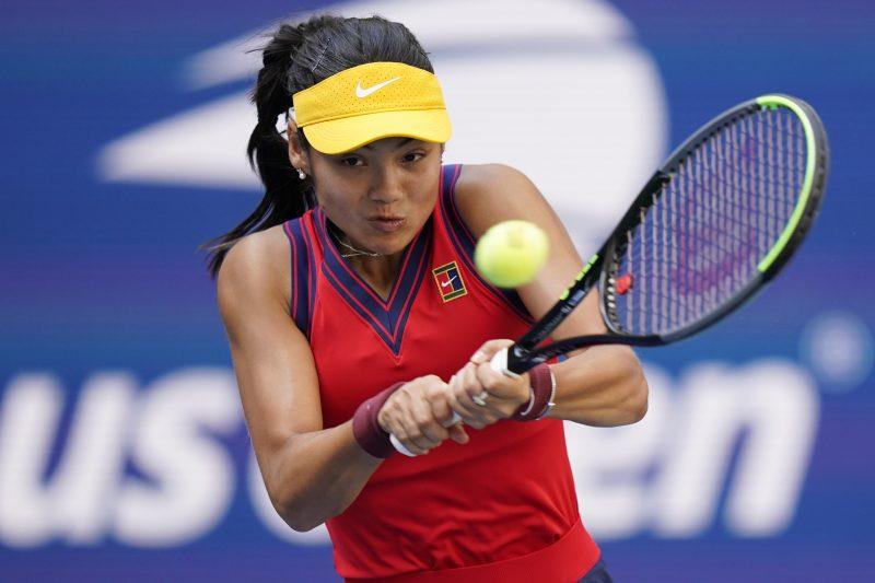 Emma Raducanu in action