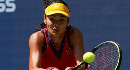 Emma Raducanu plays a shot