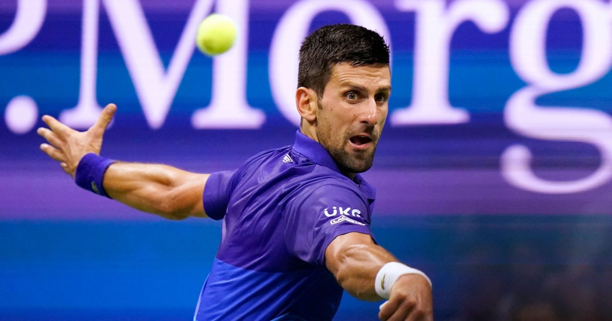 Novak Djokovic in action at US Open