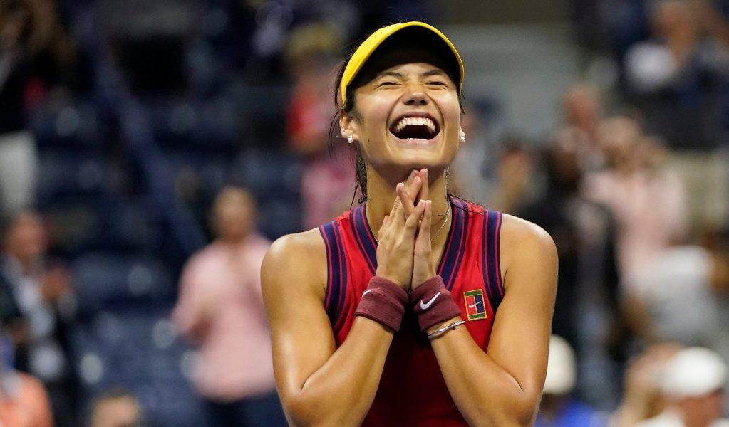 A delighted Emma Raducanu celebrates
