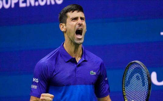 Novak Djokovic shouting
