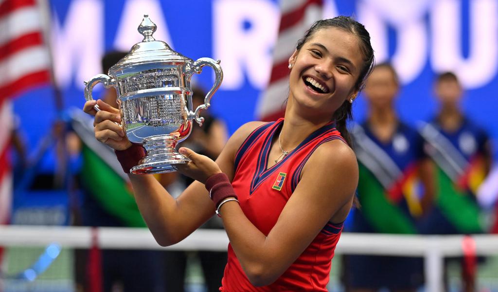 US Open women's champion Emma Raducanu celebrates