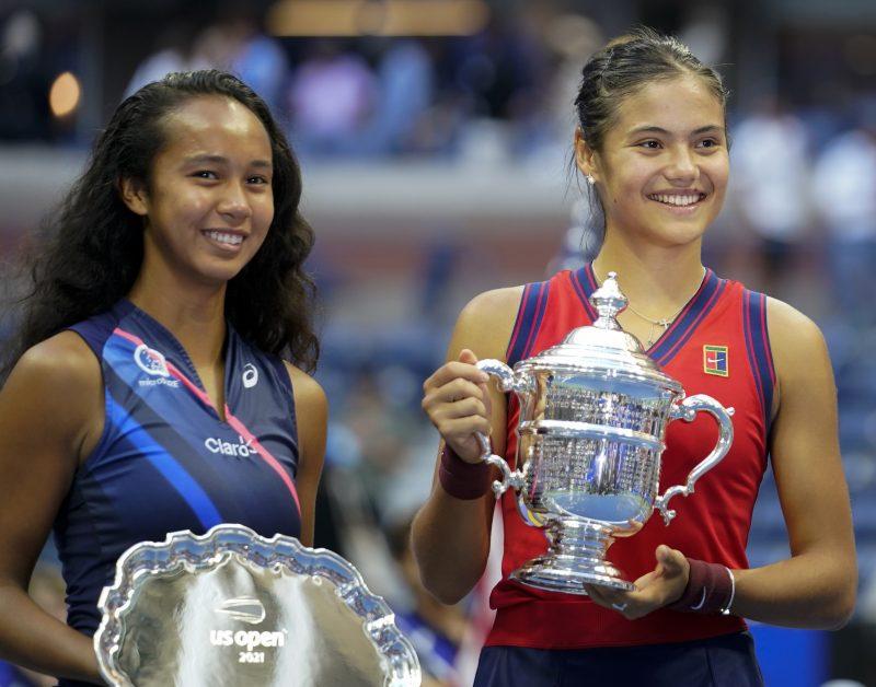 Leylah Fernandez and Emma Raducanu after US Open final