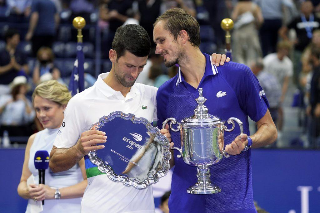 Novak Djokovic and Daniil Medvedev after US Open final