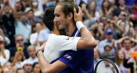 Novak Djokovic and Daniil Medvedev post-match