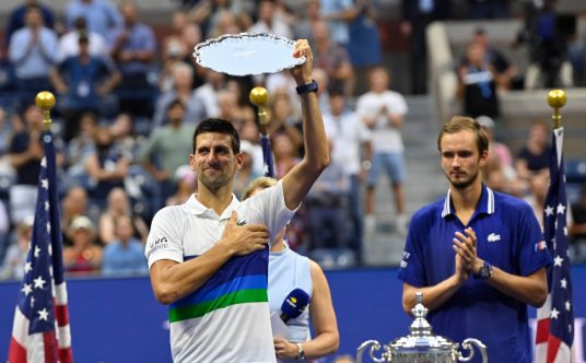 Novak Djokovic with the US Open runner's up trophy