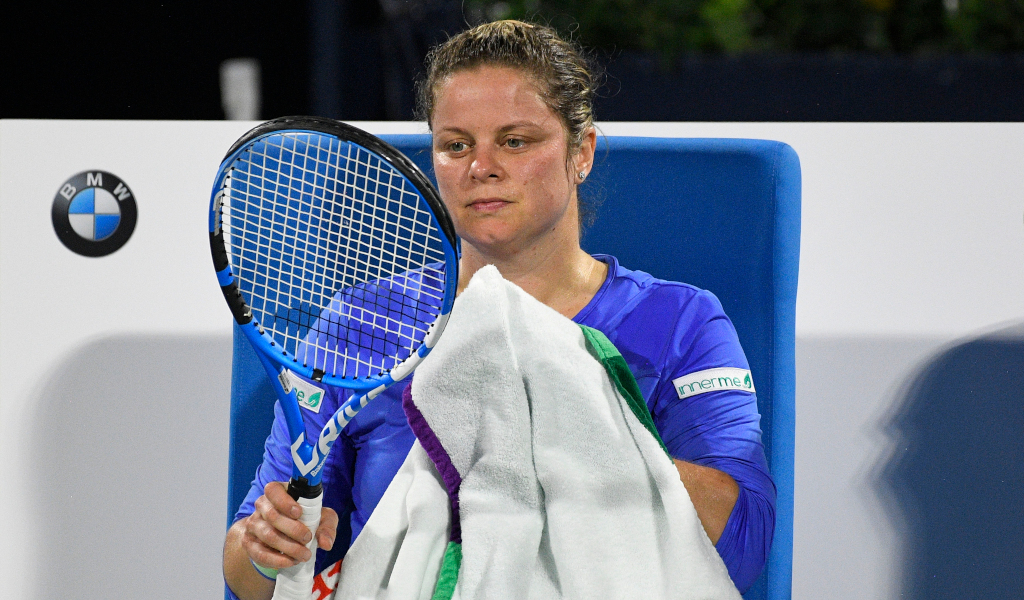 Kim Clijsters at the changeover