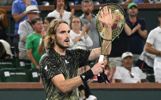 Stefanos Tsitsipas in action on the ATP Tour