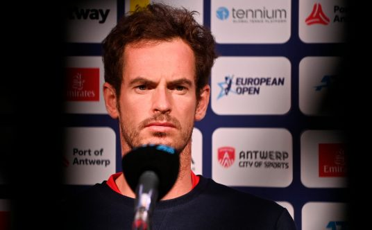 Andy Murray talks to the media