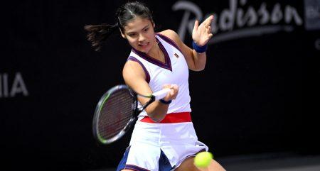 Emma Raducanu in action on the WTA Tour